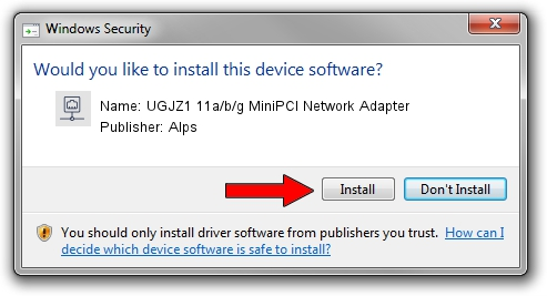 Alps UGJZ1 11a/b/g MiniPCI Network Adapter driver installation 1425018