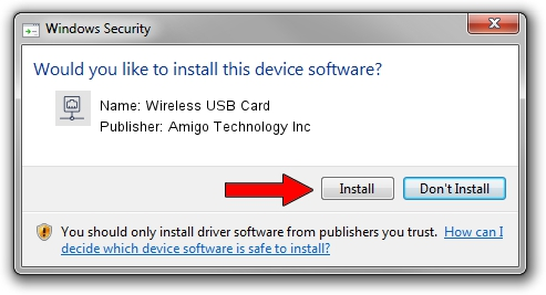 Amigo Technology Inc Wireless USB Card driver installation 628624
