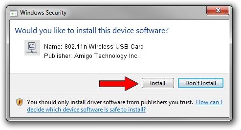 Amigo Technology Inc. 802.11n Wireless USB Card driver installation 1050411