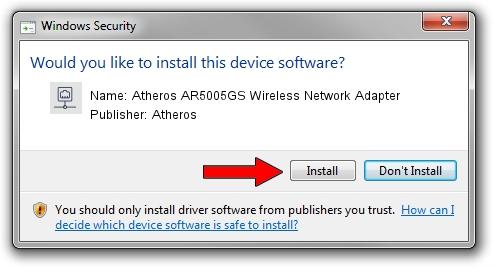 Atheros Atheros AR5005GS Wireless Network Adapter setup file 1102924