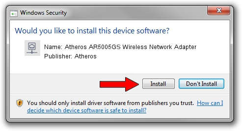 Atheros Atheros AR5005GS Wireless Network Adapter driver installation 1444374