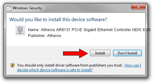 Atheros Atheros AR8131 PCI-E Gigabit Ethernet Controller NDIS 6.20 driver download 1052145