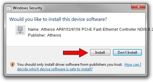 Atheros Atheros AR8152/8158 PCI-E Fast Ethernet Controller NDIS 6.20 setup file 1396685
