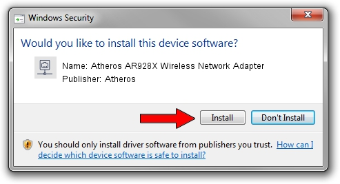Atheros Atheros AR928X Wireless Network Adapter setup file 1211129