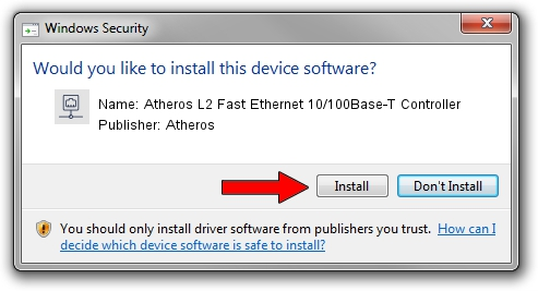 atheros l2 fast ethernet 10100 base-t controller