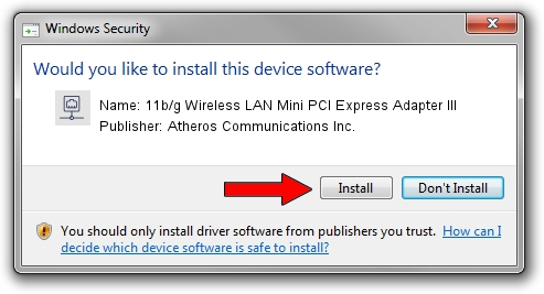 Atheros Communications Inc. 11b/g Wireless LAN Mini PCI Express Adapter III driver installation 38199
