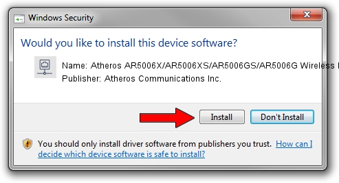 Atheros Communications Inc. Atheros AR5006X/AR5006XS/AR5006GS/AR5006G Wireless Network Adapter driver installation 1429459