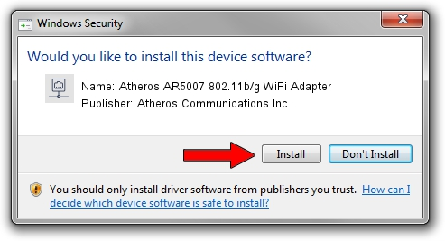 Atheros Communications Inc. Atheros AR5007 802.11b/g WiFi Adapter setup file 1155393
