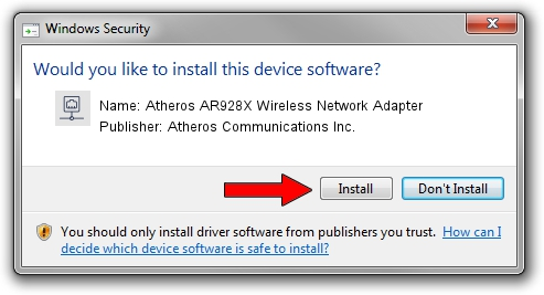 Atheros Communications Inc. Atheros AR928X Wireless Network Adapter driver installation 1638289