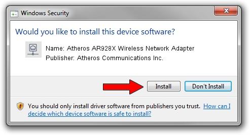 Atheros Communications Inc. Atheros AR928X Wireless Network Adapter setup file 213634