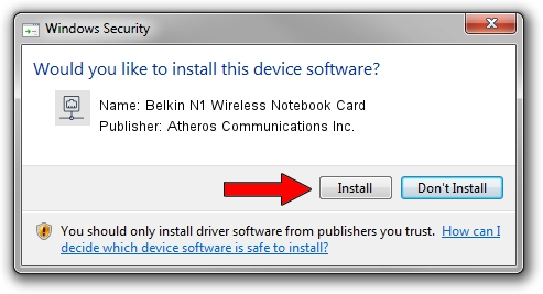 Atheros Communications Inc. Belkin N1 Wireless Notebook Card driver installation 1933016