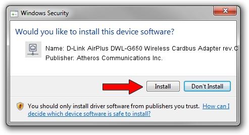 Atheros Communications Inc. D-Link AirPlus DWL-G650 Wireless Cardbus Adapter rev.C setup file 38148