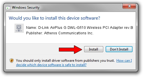 Atheros Communications Inc. D-Link AirPlus G DWL-G510 Wireless PCI Adapter rev.B driver installation 1050773