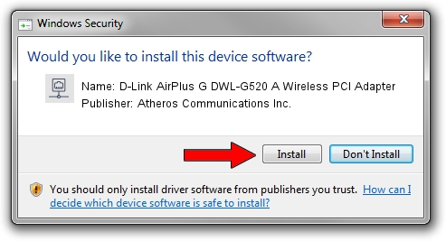 Atheros Communications Inc. D-Link AirPlus G DWL-G520 A Wireless PCI Adapter setup file 1050747