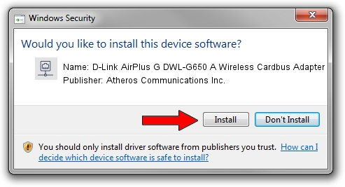 Atheros Communications Inc. D-Link AirPlus G DWL-G650 A Wireless Cardbus Adapter setup file 1052804