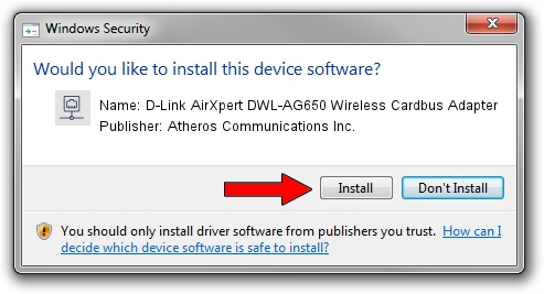 Atheros Communications Inc. D-Link AirXpert DWL-AG650 Wireless Cardbus Adapter setup file 1397035