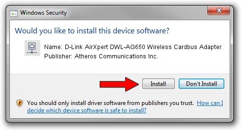 Atheros Communications Inc. D-Link AirXpert DWL-AG650 Wireless Cardbus Adapter setup file 1441425
