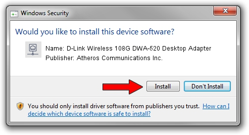 Atheros Communications Inc. D-Link Wireless 108G DWA-520 Desktop Adapter driver installation 2011548