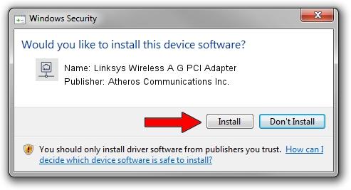 Atheros Communications Inc. Linksys Wireless A G PCI Adapter setup file 2012625