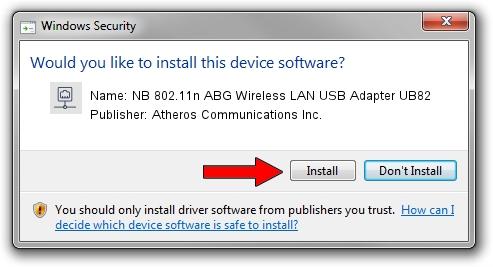 Atheros Communications Inc. NB 802.11n ABG Wireless LAN USB Adapter UB82 driver download 1504281