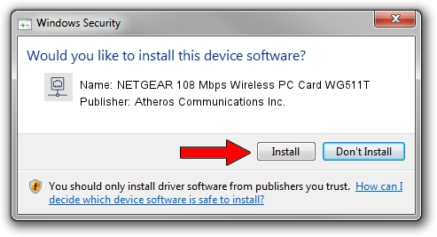 Atheros Communications Inc. NETGEAR 108 Mbps Wireless PC Card WG511T driver installation 1436776
