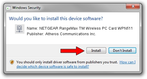 Atheros Communications Inc. NETGEAR RangeMax TM Wireless PC Card WPN511 driver installation 1210561