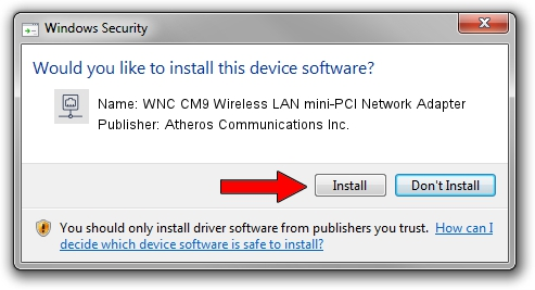 Atheros Communications Inc. WNC CM9 Wireless LAN mini-PCI Network Adapter driver installation 1040213
