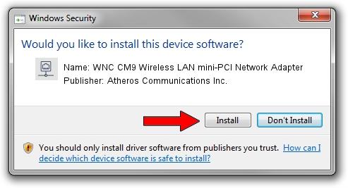 Atheros Communications Inc. WNC CM9 Wireless LAN mini-PCI Network Adapter setup file 1933946