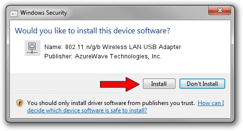 AzureWave Technologies, Inc. 802.11 n/g/b Wireless LAN USB Adapter driver installation 1434654