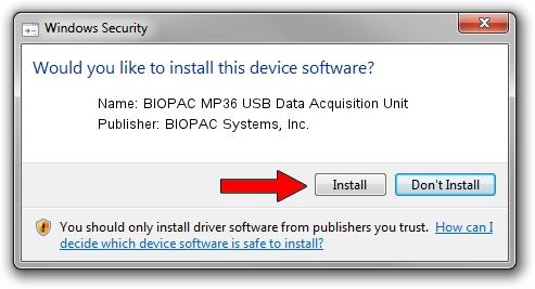 BIOPAC Systems, Inc. BIOPAC MP36 USB Data Acquisition Unit setup file 2095313