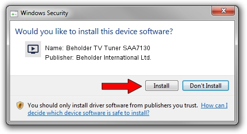 Beholder International Ltd. Beholder TV Tuner SAA7130 driver installation 1267010