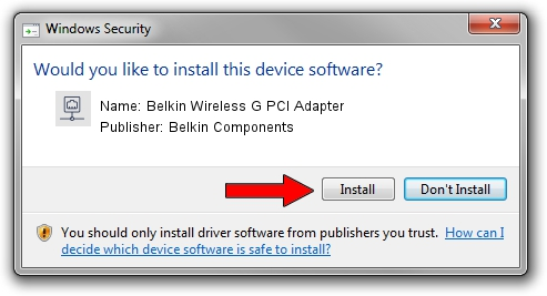 Belkin Components Belkin Wireless G PCI Adapter setup file 1857395