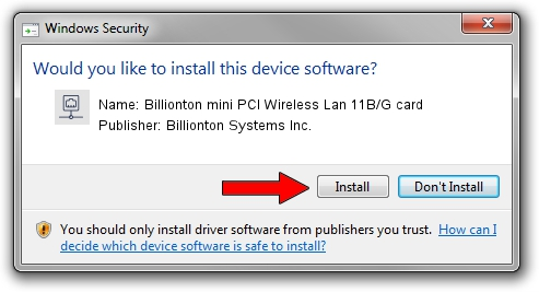 Billionton Systems Inc. Billionton mini PCI Wireless Lan 11B/G card driver installation 68815