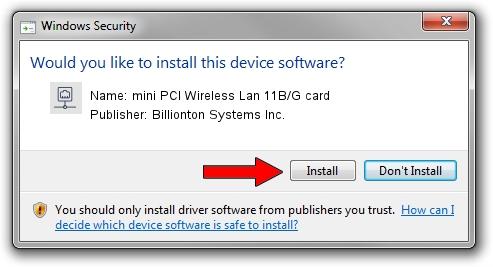 Billionton Systems Inc. mini PCI Wireless Lan 11B/G card driver download 2014333
