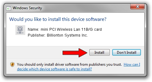 Billionton Systems Inc. mini PCI Wireless Lan 11B/G card driver installation 2095818