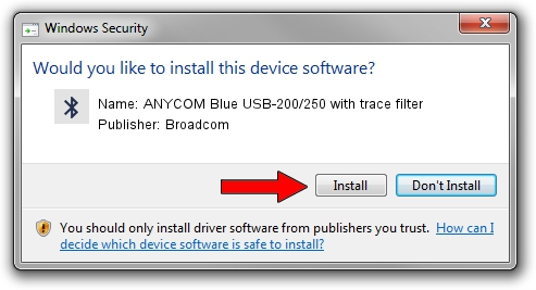 Broadcom ANYCOM Blue USB-200/250 with trace filter driver installation 1933231
