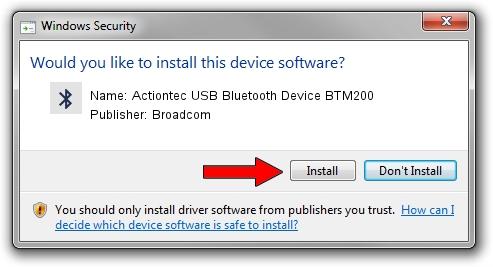 Broadcom Actiontec USB Bluetooth Device BTM200 driver installation 1388583