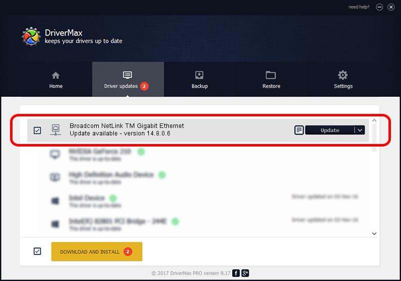 Broadcom Broadcom NetLink TM Gigabit Ethernet driver update 1392290 using DriverMax