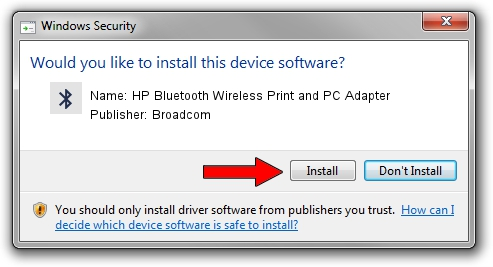 Broadcom HP Bluetooth Wireless Print and PC Adapter driver installation 1418333