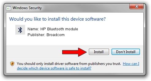 Broadcom HP Bluetooth module driver installation 1212603