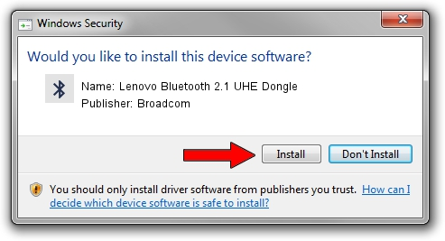 Broadcom Lenovo Bluetooth 2.1 UHE Dongle driver installation 1212605
