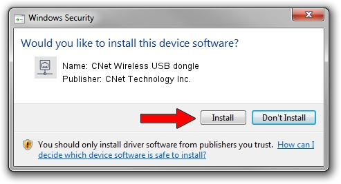 CNet Technology Inc. CNet Wireless USB dongle driver installation 1397805
