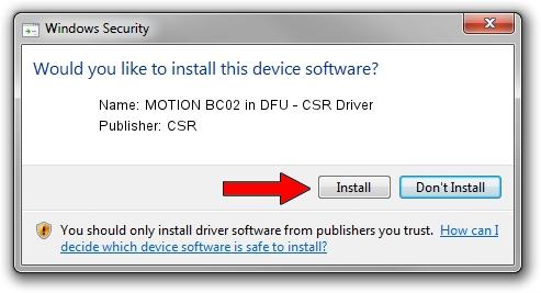 CSR MOTION BC02 in DFU - CSR Driver setup file 1932148
