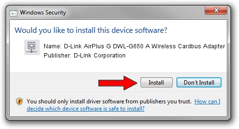 D-Link Corporation D-Link AirPlus G DWL-G650 A Wireless Cardbus Adapter setup file 1571325