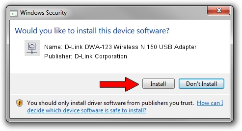 D-Link Corporation D-Link DWA-123 Wireless N 150 USB Adapter setup file 189015