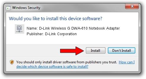 D-Link Corporation D-Link Wireless G DWA-610 Notebook Adapter driver installation 68736