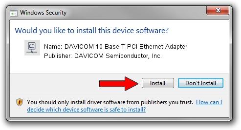 DAVICOM Semiconductor, Inc. DAVICOM 10 Base-T PCI Ethernet Adapter driver installation 1102330