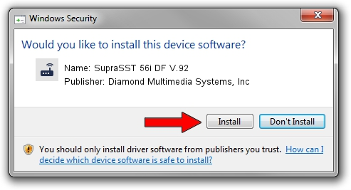 Diamond Multimedia Systems, Inc SupraSST 56i DF V.92 driver installation 1435858