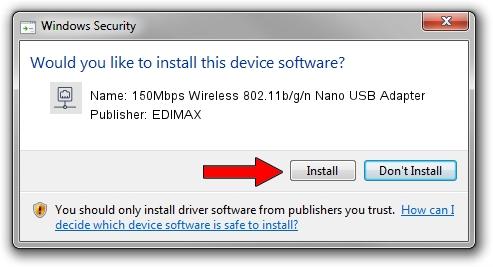 EDIMAX 150Mbps Wireless 802.11b/g/n Nano USB Adapter setup file 2100035