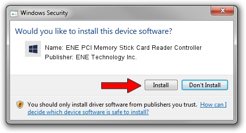 ENE Technology Inc. ENE PCI Memory Stick Card Reader Controller driver installation 1423050